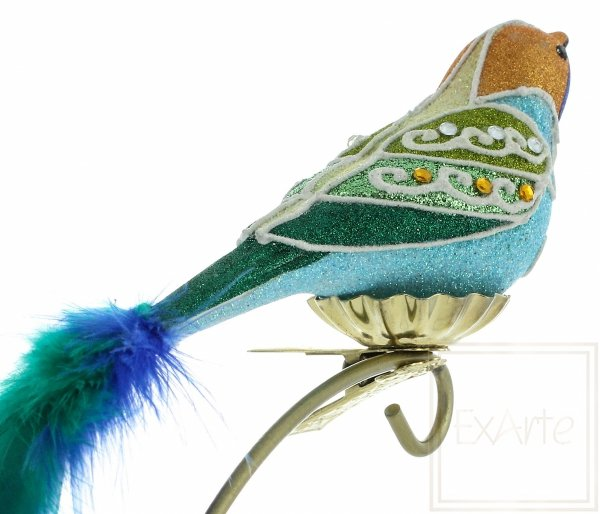 bombka figurka ptaka / Blauer Vogel - 9cm