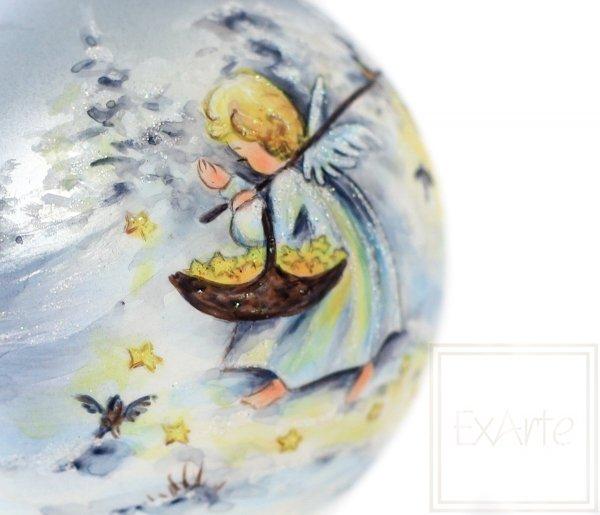 ręcznie malowana bombka z aniołem