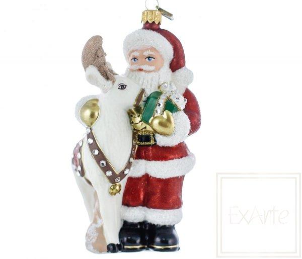 Mikołaj 15cm -  Z reniferem