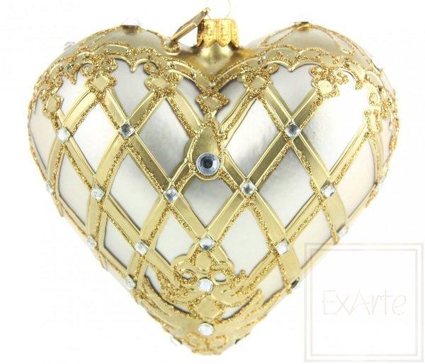 Szklana bombka serce złote