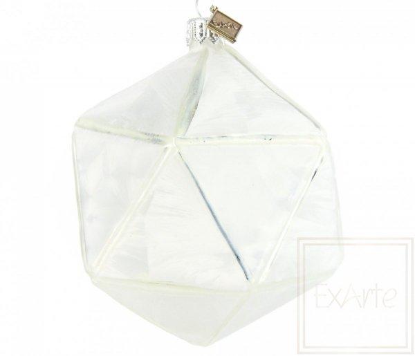 Bombka szklana wielokąt biały, Höhe 11cm - Herz des Winters
