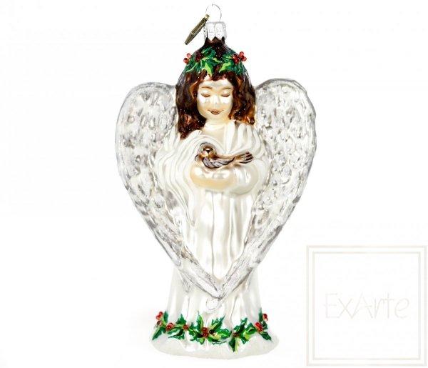 Aniołek z ptaszkiem - 14 cm