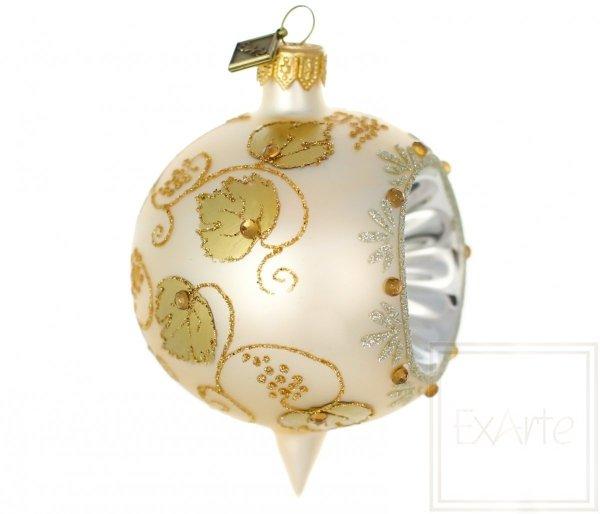 szklana bombka złote liście