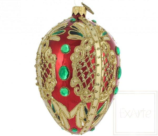Jajko 13cm - Szmaragdy na czerwieni