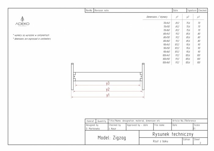 Zig 90x160cm Łóżko młodzieżowe ADEKO