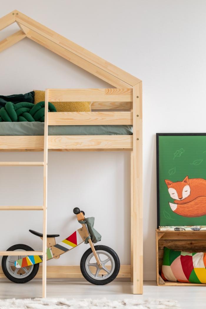 DMPA 90x190cm Łóżko piętrowe dziecięce domek Mila ADEKO