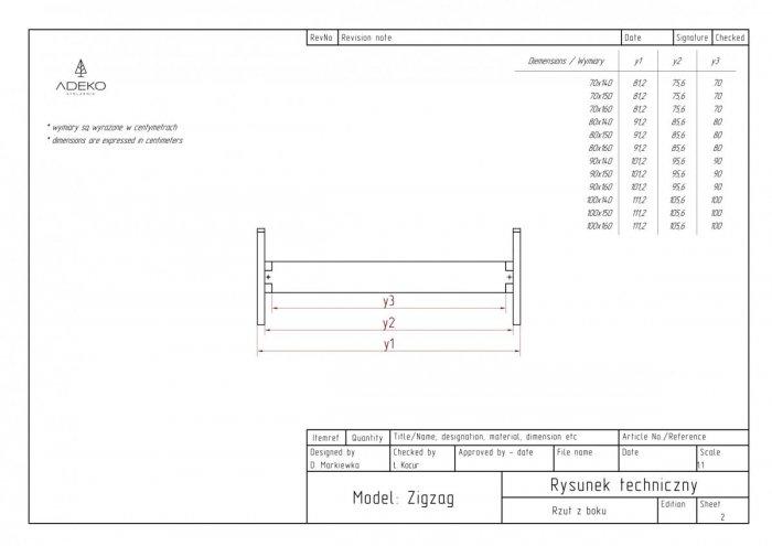 Zig 70x160cm Łóżko młodzieżowe ADEKO