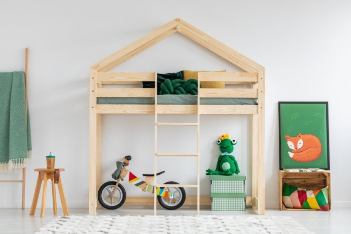 DMPA 90x160cm Łóżko piętrowe dziecięce domek Mila ADEKO