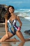 Kostium kąpielowy Marko Miriam Cosmo-Thai M-329 Granatowo-beżowo-ciemnoróżowy (164)
