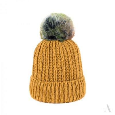 Art of Polo Fantazyjny Pompon Musztardowa czapka