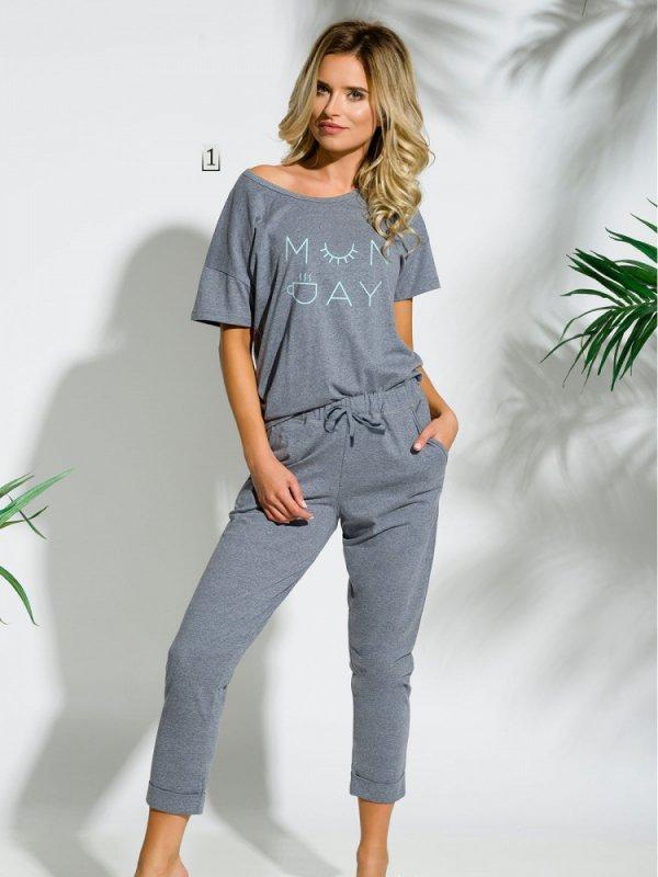 Taro Alexa 2164 SS/18 K1 Grafitowy melanż piżama damska