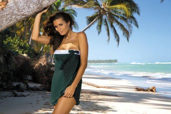 Marko Mia Woody M-241 Butelkowa zieleń (309) tunika plażowa