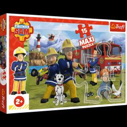 Puzzle Maxi Drużyna w Akcji Strażak Sam 15 el. Trefl 14344