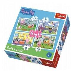 Puzzle 4w1 Wspomnienia z Wakacji 35/48/54/70 el. Świnka Peppa Peppa Pig Trefl 34359