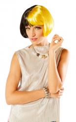 Peruka Włosy Dwukolorowe Czarno Żółte Przebranie na Karnawał