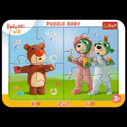 Puzzle Ramkowe Zabawne Bobaski 10 el. Bobaski i Miś Trefl 80026