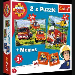 Puzzle 2w1 Strażacy w Akcji Strażak Sam 30/48 el. + Memos Trefl 90791