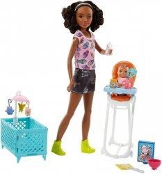 Lalka Skipper Opiekunka Murzynka z Krzesełkiem i Kołyską Barbie Mattel FHY99 FHY97