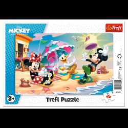Puzzle Ramkowe Zabawy na Plaży Myszka Mickey 15 el. Trefl 31390