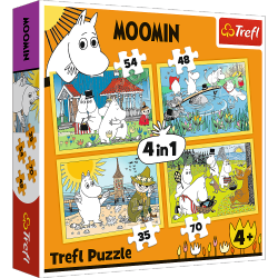 Puzzle 4w1 Wesoły Dzień Muminków 35/48/54/70 el. Trefl 34368