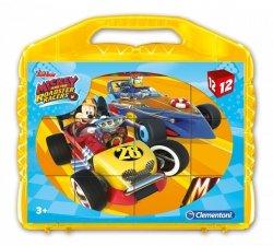 Klocki Obrazkowe w Walizce Mickey i Wyścigi Samochodowe 12 el. Clementoni 41183