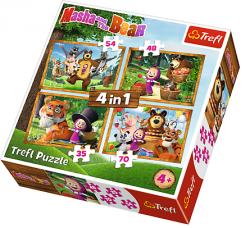 Puzzle Masza i Niedźwiedź Leśne przygody 4w1 Trefl 34329