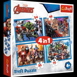 Puzzle 4w1 Odważni Avengersi 35/48/54/70 el. Avengers Trefl 34386