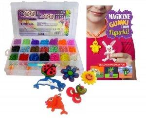 Gumeczki do Robienia Bransoletek Cool Looming Zestaw 2100 szt. + GRATIS poradnik z pomysłami na ozdoby i 6 zawieszek charms TM Toys