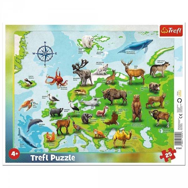 Puzzle Ramkowe Mapa Europy ze Zwierzętami 25 el. Trefl 31341