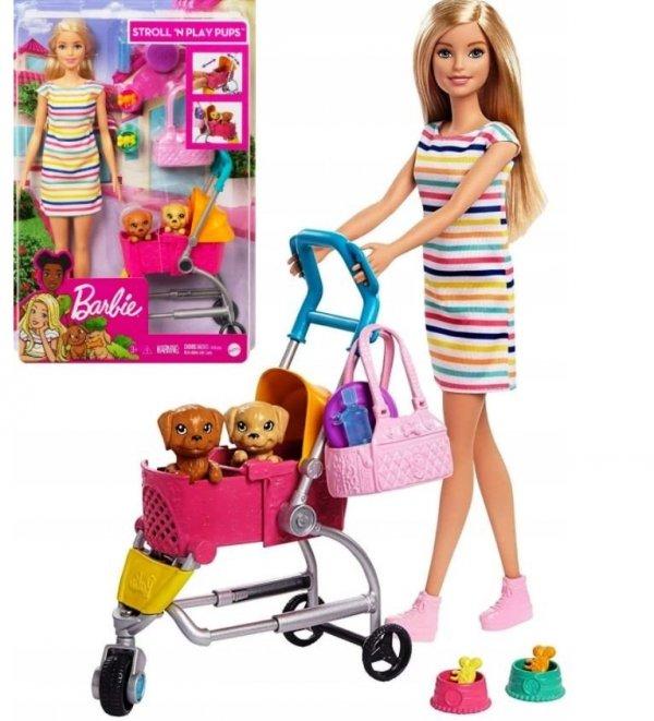 Barbie Spacerówka z Pieskami + Lalka Mattel GHV92