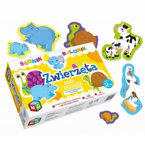 Moje Pierwsze Puzzle Zwierzęta Duże i Małe Słonik Balonik 12 el. Multigra 30122
