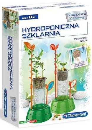 zestaw doświadczalny hydroponiczna szklarnia clementoni 50516