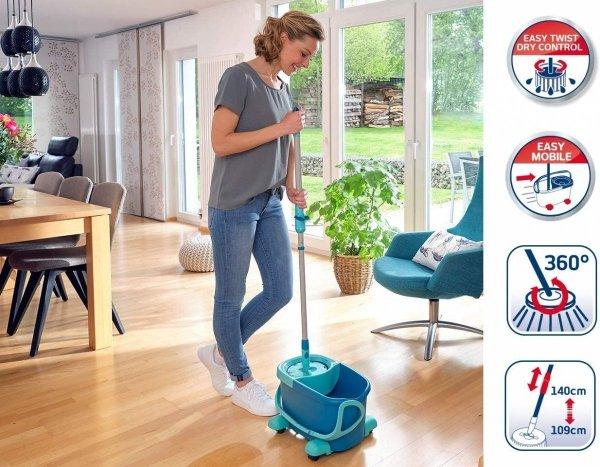 Leifheit Set Clean Twist Disc Mop Ergo 2.0 Mobile mit Rollwagen
