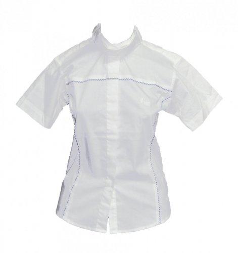 Koszula konkursowa z krótkim rękawem młodzieżowa - Jacson - biały/niebieski