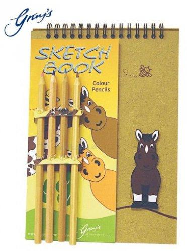 Drewniany notes z konikiem i kredkami BEE MY HORSE - GRAY'S