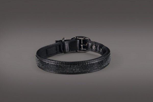 Obroża + smycz Eskadron SATIN CRYSTAL z kolekcji PLATINUM 2015 - black