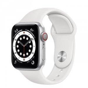 Apple Watch Series 6 40mm GPS + LTE (cellular) Aluminium w kolorze srebrnym z paskiem sportowym w kolorze białym