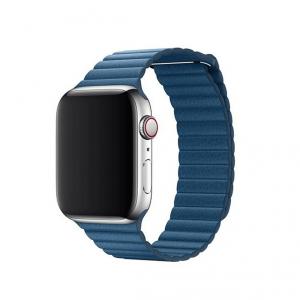 Apple opaska skórzana w kolorze szarego błękitu do Apple Watch 42/44 mm - Rozmiar L