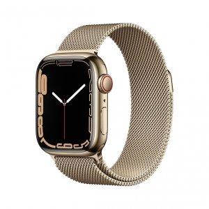 Apple Watch Series 7 41mm GPS + Cellular (LTE) Koperta ze stali nierdzewnej w kolorze złotym z bransoletą mediolańską w kolorze złotym