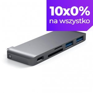 Satechi USB-C Pass Through HUB - 2xUSB 3.0 / USB-C (PD) / SD / microSD / Space Gray (gwiezdna szarość)