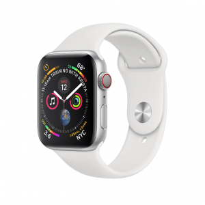 Apple Watch Series 4 / GPS + LTE / Koperta 44mm z aluminium w kolorze srebrnym / Pasek sportowy w kolorze białym