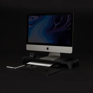 Pout Eyes 8 3-in-1 Monitor Stand HUB + Charging Pad - Podstawka pod monitor z polem ładującym (czarny)