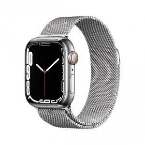 Apple Watch Series 7 41mm GPS + Cellular (LTE) Koperta ze stali nierdzewnej w kolorze srebrnym z bransoletą mediolańską w kolorze srebrnym