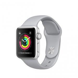 Apple Watch Series 3 / GPS + LTE / Koperta 38mm z aluminium w kolorze srebrnym / Pasek sportowy w kolorze szarym mglistym