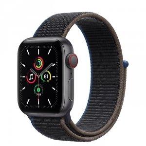 Apple Watch SE 40mm GPS + LTE (cellular) Aluminium w kolorze gwiezdnej szarości z opaską sportową w kolorze węgla drzewnego - nowy model