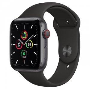 Apple Watch SE 44mm GPS + LTE (cellular) Aluminium w kolorze gwiezdnej szarości z paskiem sportowym w kolorze czarnym - nowy model