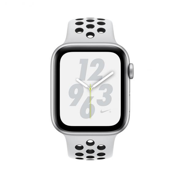 Apple Watch Nike+ Series 4 / GPS + LTE / Koperta 44mm z aluminium w kolorze srebrnym / Pasek sportowy Nike w kolorze czystej platyny/czarnym