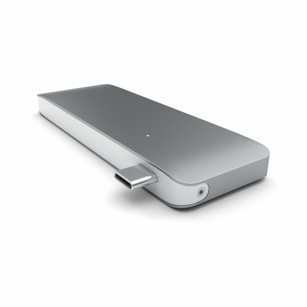 Satechi Pass Through USB-C Hub - USB 3.0/USB-C (Power Delivery)/SD/microSD/Space Gray