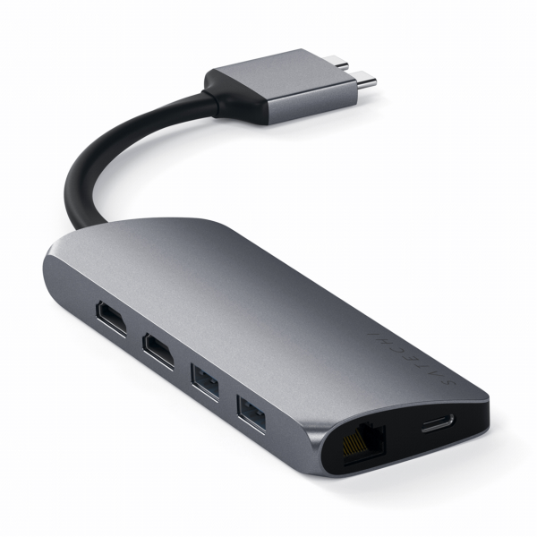 Satechi Dual USB-C Multimedia HUB - Ethernet / 2 xHDMI / 2xUSB 3.0 / USB-C(PD) / SD / microSD / Space Gray (gwiezdna szarość)