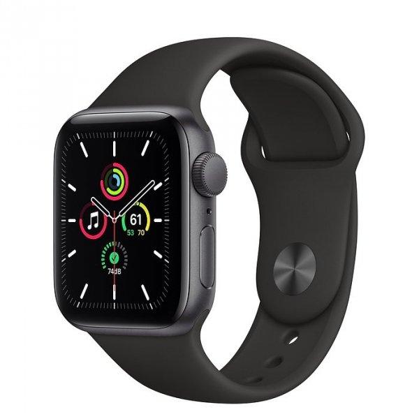 Apple Watch SE 40mm GPS Aluminium w kolorze gwiezdnej szarości z paskiem sportowym w kolorze czarnym - nowy model